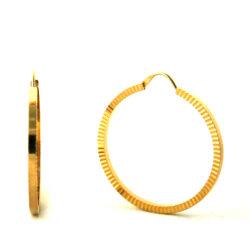 Créoles finement striées plaqué or – Boucles d'oreilles rondes 35 mm