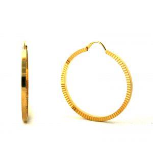 Créoles finement striées plaqué or - Boucles d'oreilles rondes 35 mm