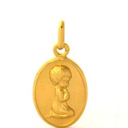 Chérubin en prière – Médaille ovale en plaqué or