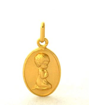 Chérubin en prière - Médaille ovale en plaqué or