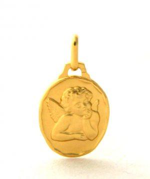 Ange Raphaël - Médaille ovale en plaqué or