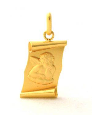 Ange Raphaël - Pendentif parchemin en plaqué or