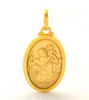 Saint Christophe - Médaille ovale en plaqué or