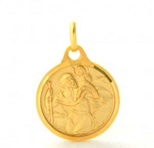 Saint Christophe - Médaille ronde en plaqué or