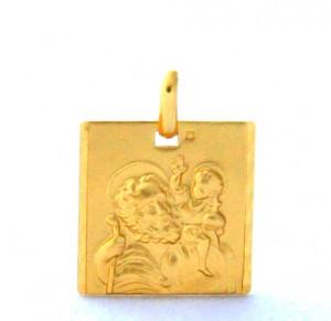 Saint Christophe - Médaille carrée en plaqué or
