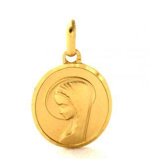 Vierge au voile auréolé - Médaille ovale en plaqué or