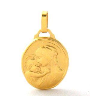Vierge à l'enfant - Médaille ovale en plaqué or