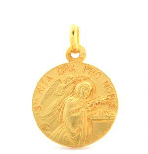 Sainte Rita - Médaille ronde en plaqué or