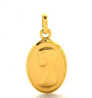 Vierge au voile - Médaille ovale en plaqué or