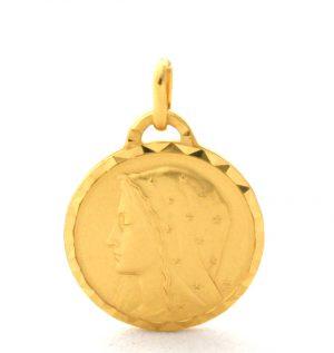 Vierge au voile étoilé - Médaille ronde en plaqué or