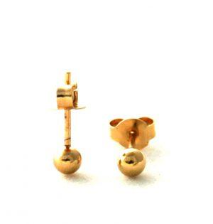 Sphères dorées lisses - Boucles d'oreilles boules 3,9 mm