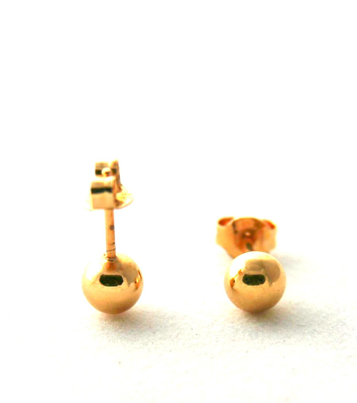 Sphères dorées lisses – Boucles d'oreilles boules 6 mm