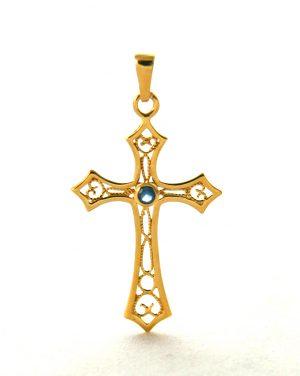 Croix latine pierre bleue en plaqué or