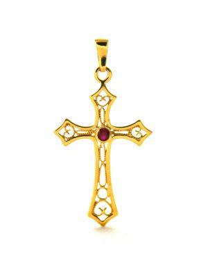Croix latine pierre rouge en plaqué or