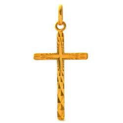 Croix latine finement ciselée en plaqué or