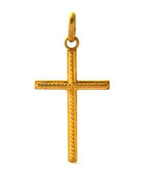 Croix latine ornement torsades en plaqué or
