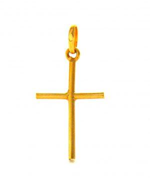 Croix latine ronde en plaqué or