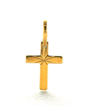 Très petite croix latine étoilée en plaqué or