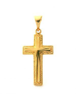 Croix latine ciselée en plaqué or