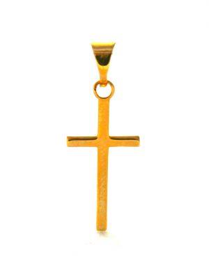 Fine croix latine en plaqué or