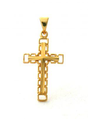 Croix latine ciselée maillée en plaqué or