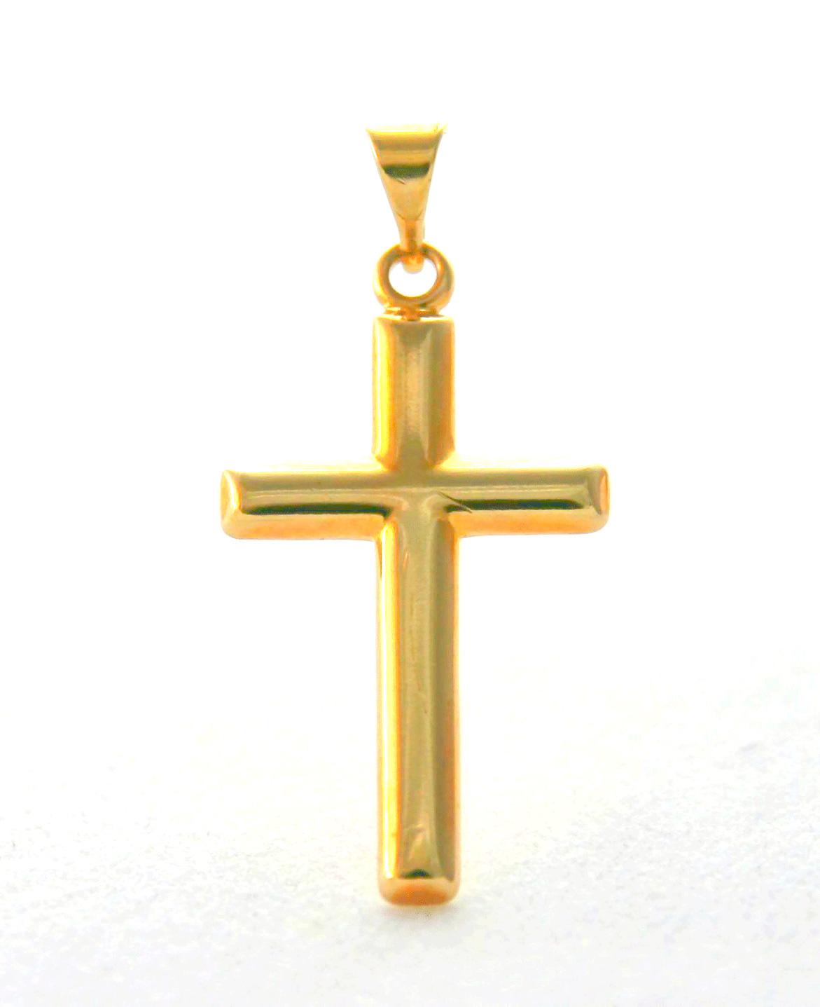 Croix latine 15 mm de large en plaqué or