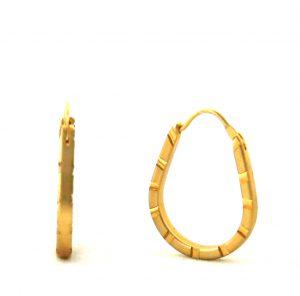 Créoles satinées rainurées plaqué or - Boucles d'oreilles ovales 18 mm