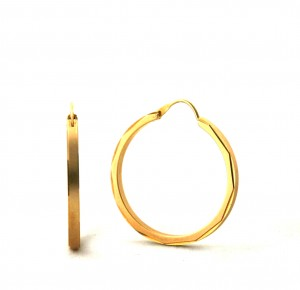 Créoles aspect satiné brillant plaqué or - Boucles d'oreilles rondes 30 mm
