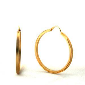 Créoles aspect satiné brillant plaqué or - Boucles d'oreilles rondes 35 mm