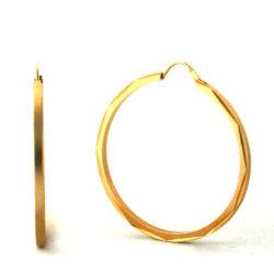 Créoles aspect satiné brillant plaqué or – Boucles d'oreilles rondes 40 mm
