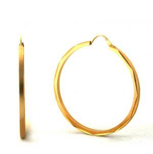 Créoles aspect satiné brillant plaqué or - Boucles d'oreilles rondes 40 mm