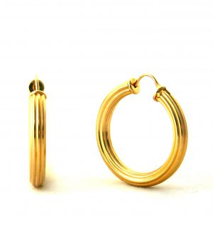 Créoles plaqué or - Boucles d'oreilles rondes 30 mm