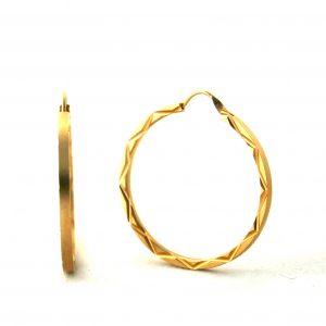 Créoles ciselées plaqué or - Boucles d'oreilles rondes 35 mm