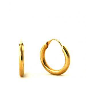 Créoles lisses plaqué or - Boucles d'oreilles rondes 20 mm