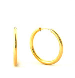 Créoles lisses plaqué or - Boucles d'oreilles rondes 30 mm
