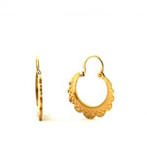 Créoles en plaqué or dentelées diamantées - Boucles d'oreilles rondes 17 mm