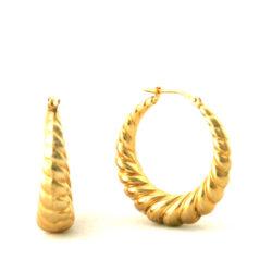 Créoles torsadées plaqué or – Boucles d'oreilles rondes 27 mm