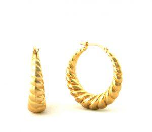 Créoles torsadées plaqué or - Boucles d'oreilles rondes 27 mm