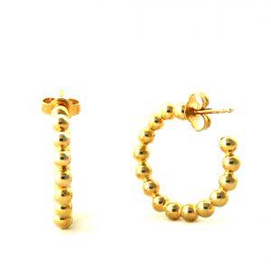 Demi-créoles boules plaqué or - Boucles d'oreilles anneaux 25 mm