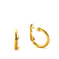 Demi-créoles lisses plaqué or – Boucles d'oreilles rondes 20 mm