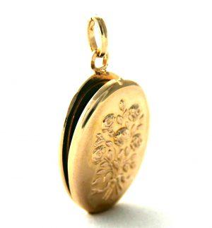 Médaillon porte-photo fleuri en plaqué or