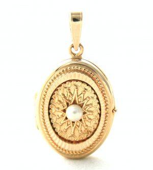 Médaillon porte-photo perlé en plaqué or