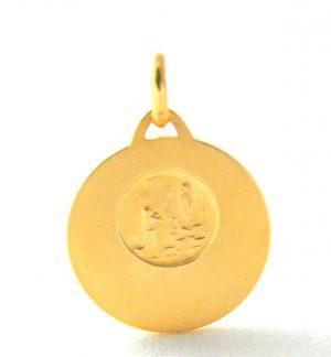 Saint Christophe – Médaille ronde en plaqué or