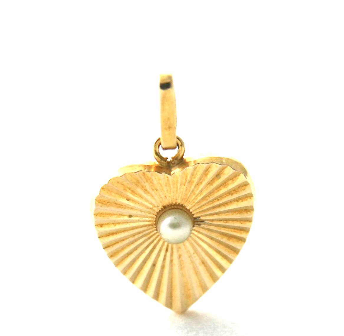 Pendentif Coeur perlé en Plaqué or 750/1000