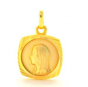 Vierge au voile - Médaille carrée en plaqué or