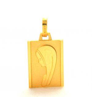 Vierge au voile - Médaille rectangle en plaqué or
