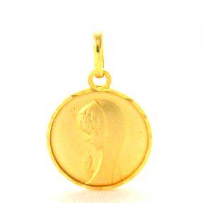 Vierge au voile en prière – Médaille ronde en plaqué or