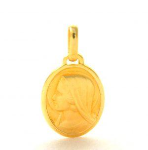 Vierge au voile de profil auréolé – Médaille ovale en plaqué or