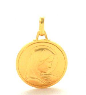 Vierge au voile auréolé – Médaille ronde en plaqué or