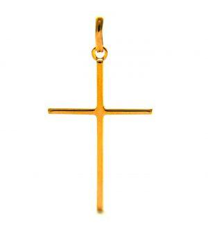 Croix latine carrée en plaqué or